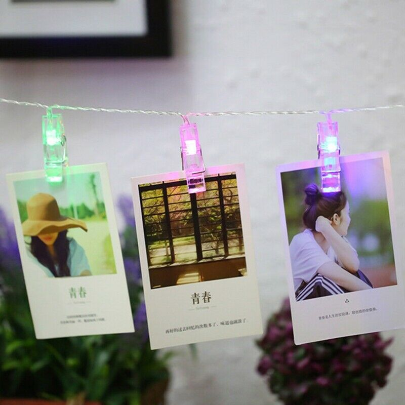 10/20/30 LED Hanging Picture Photo Peg Clip Fairy String Lights Party Decoration 2