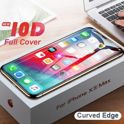 For IPhone X XS MAX XR 8 7 6 10D Full Cover Real Tempered Glass Screen Protector 3