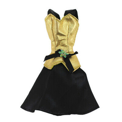 """Gold Black Fashion Short Dress For 11.5"""" 1/6 Doll Clothes Outfits Party Gown Toy 3"""