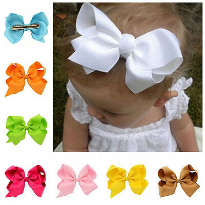 30 Pcs 6 Baby Girls Huge Grosgrain Ribbon Boutique Hair Bows Kids