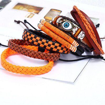 Fashion Mens Punk Leather Wrap Braided Wristband Cuff Punk Bracelet Bangle New 9