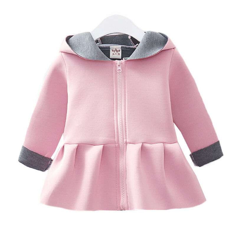 Kids Girls Hooded Coat Winter Hoodies Swing Jacket Outwear Winter Outfit Tops 3