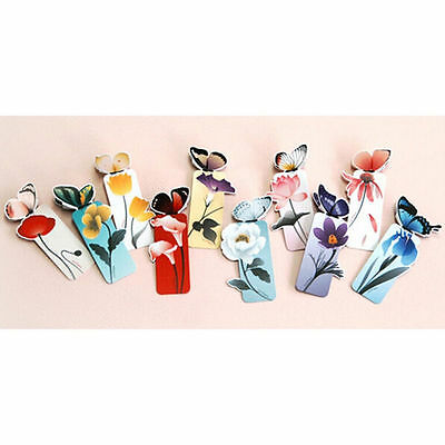 4pc Cute Butterfly On Flower Shape Exquisite Bookmarks Book Markers Readers Gift 9