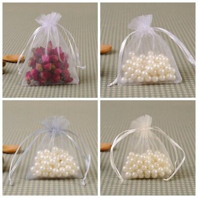 20 50X Small White Organza Bags Wedding Favours Pouches Net Jewellery Bag 5