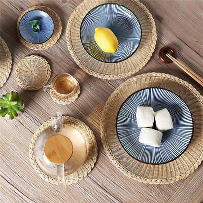 Round Table Placemats.Hand Woven Grass Plate Round Heat Resistant Food Dining Table Placemats La