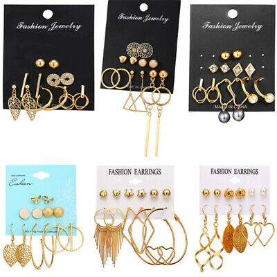15Pairs Korean Style Earrings Set Tassel Crystal Ear Stud Dangle Hook Chic Women 9