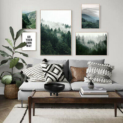 Misty Foggy Forest Nature Scenery Poster Nordic Landscape Canvas Wall art Print 2