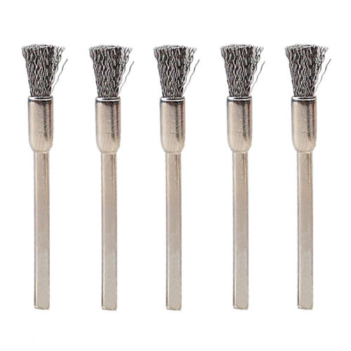 10x 3mm Rotary Steel Wire Wheel Brush Cup Tool Shank for Drills Rust Weld T6V5 9