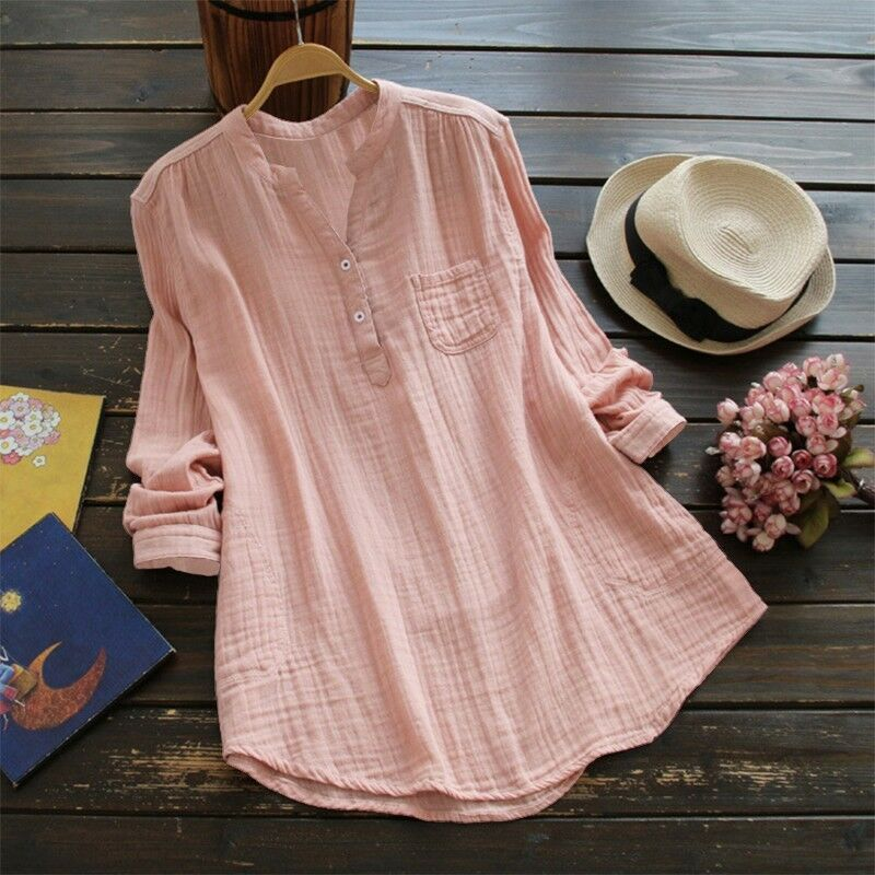 Womens V Neck Baggy Loose Cotton Tops T Shirt Plus Size Long Sleeve Tunic Blouse 7