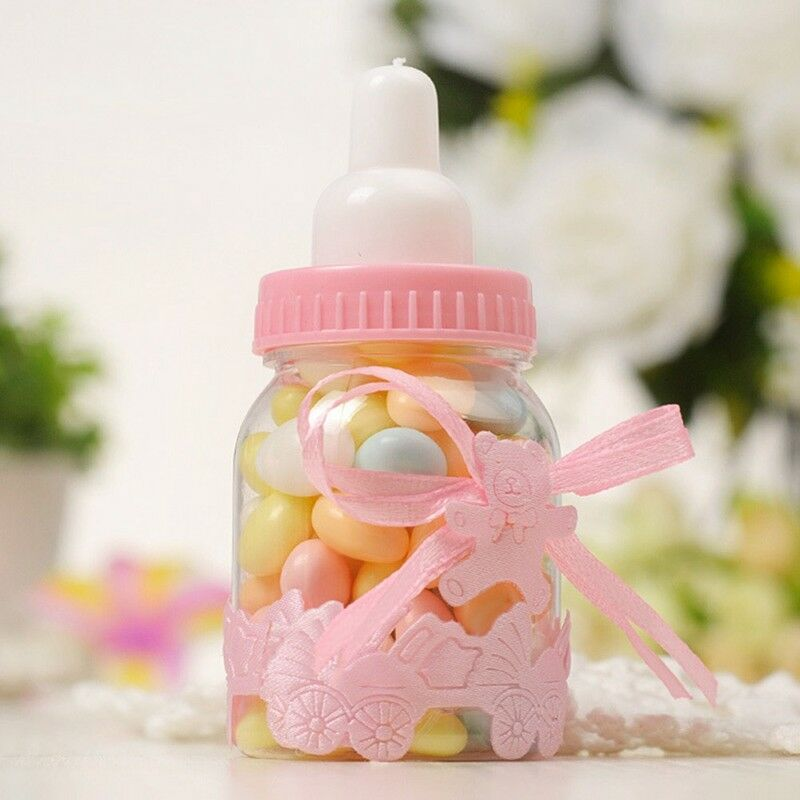 24X Fillable Bottles Candy Box Baby Shower Baptism Party Christening UK 8