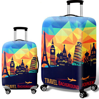 Printed Travel Suitcase Protective Cover Luggage Protector Elastic Dust proof 7