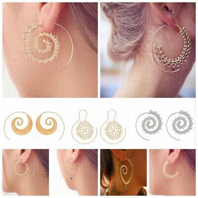 Boho Women Jewelry Holiday Gypsy Tribal Ethnic Mandala Hollow Hoop Earrings Gift 9
