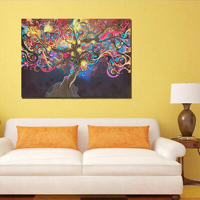 Psychedelic Trippy Tree Abstract Art Silk Fabric Cloth Poster Home Wall Decor 7