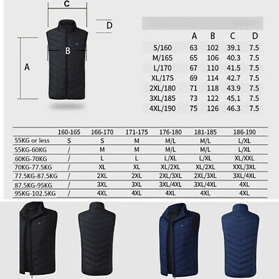 Women Mens Electric Vest Heated Cloth Jacket USB Warm Up Heating Pad Body Warmer 2