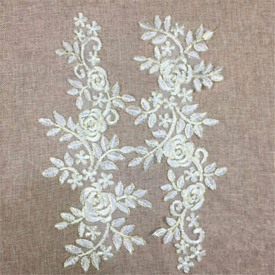 1 Pair DIY Embroidery  Lace Applique Sewing Wedding Dress Trim Craft Flora Patch 6