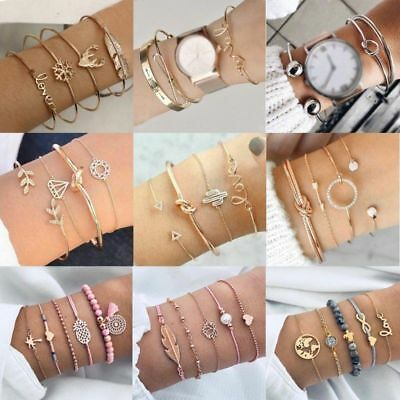 Women Stainless Steel Open Cuff Bracelet Bangle Chain Wristband Jewelry Gift New 6