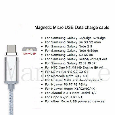 2.4A Magnetic Micro USB Charging Cable Charger Adapter for Android Samsung LG