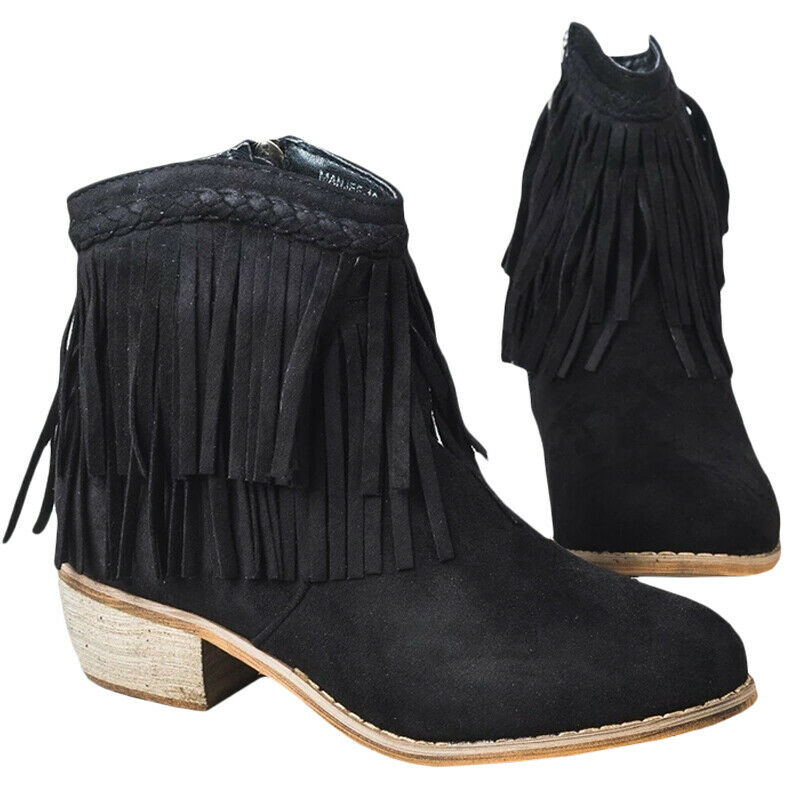 Women Ladies Short Ankle Boots Tassel Chunky Low Heel Casual Shoes UK Size 3.5-8 4