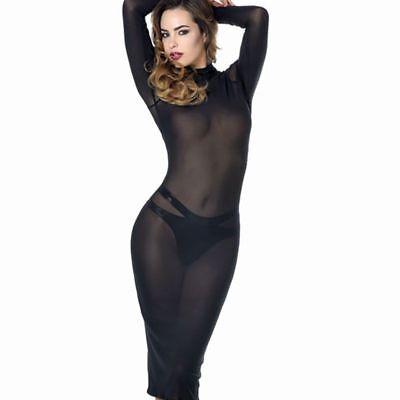 Vestito Longuette Aderente in Tulle Nero Velato Effetto Nudo a Maniche Lunghe 2