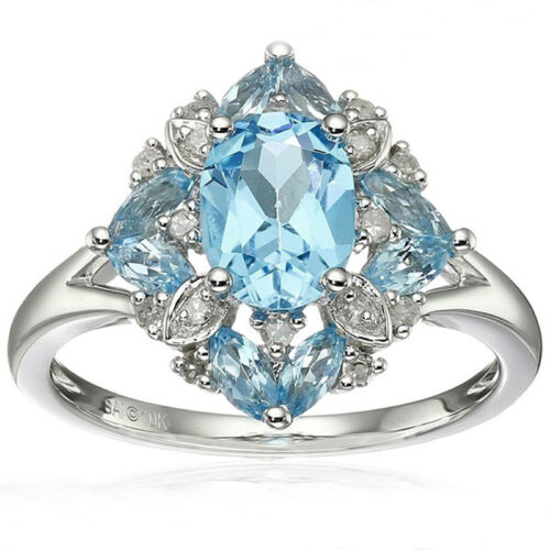925 Sterling Silver Rings Aquamarine Flower Drop Rings Wedding Jewelry Size#6-10 4