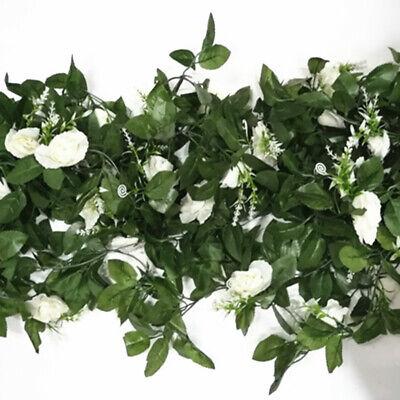 2.5m Artificial Flower Silk Rose Leaf Garland Vine Ivy Home Wedding Garden Deor 12