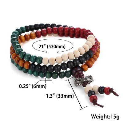 Women Men Tibetan Buddhist Wrap Bracelet/Necklace Worry Beads Jewelry new gift 9