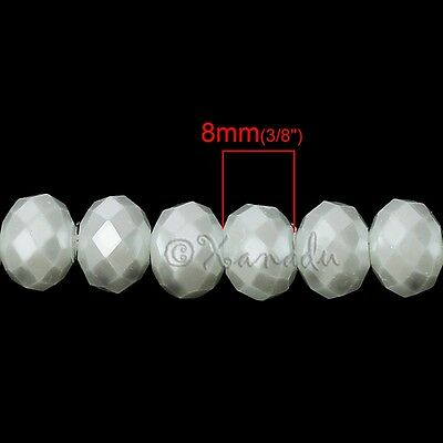 Pearl White Wholesale 8mm Faceted Crystal Glass Beads G3726 - 50, 100 or 200PCs 2