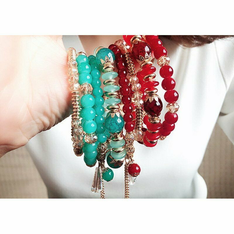 Women Boho Multi-layer Crystal Beaded Beads Bohemia Cuff Bracelets Set Bangle 10