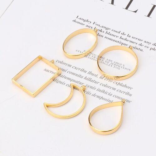 10Pcs Geometric Hollow Pressed Flower Resin Blank Frames Pendants Jewelry Making 8