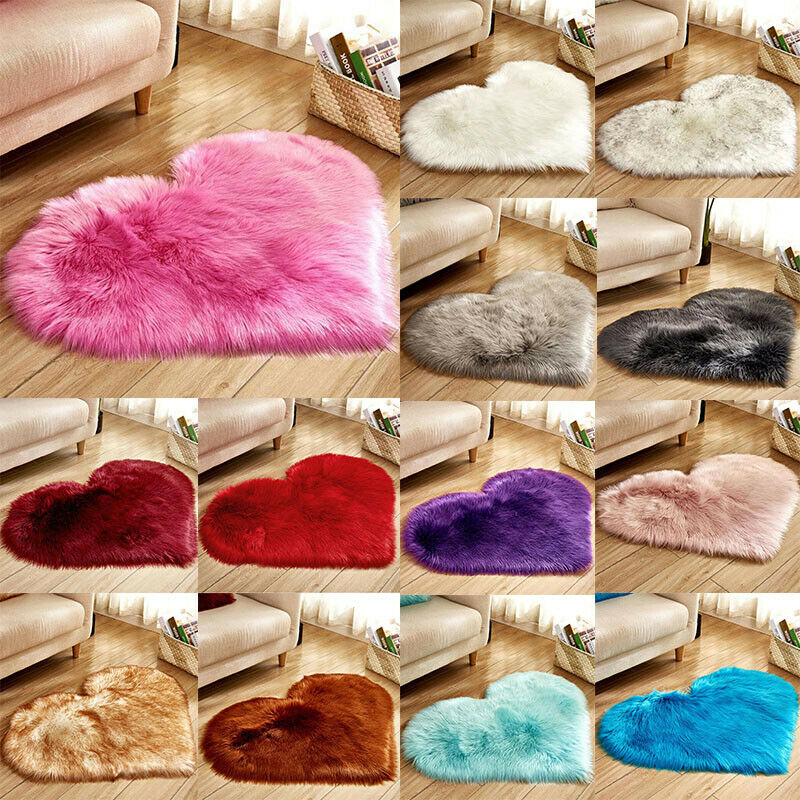 Heart Shaped Fluffy Rugs Anti-Skid Shaggy Area Rug Carpet Home Bedroom Floor Mat 2