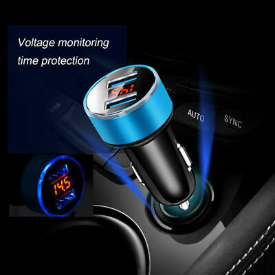 Dual Ports 3.1A USB Car Cigarette Charger Lighter Digital LED Voltmeter 12V/24V 8