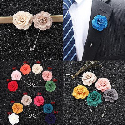 Women Men Brooch Lapel Pin Camellias Flower Boutonniere For Suit  1pcs