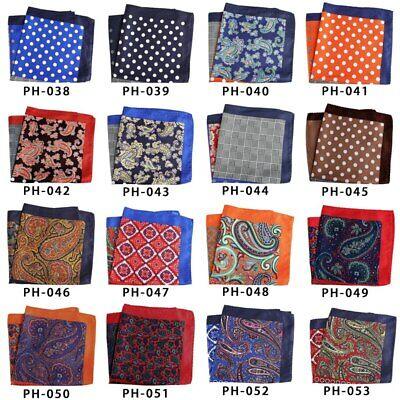 32cm Unisex Handkerchief Paisley Floral Plaids Prints Soft Thin Pocket Square 5