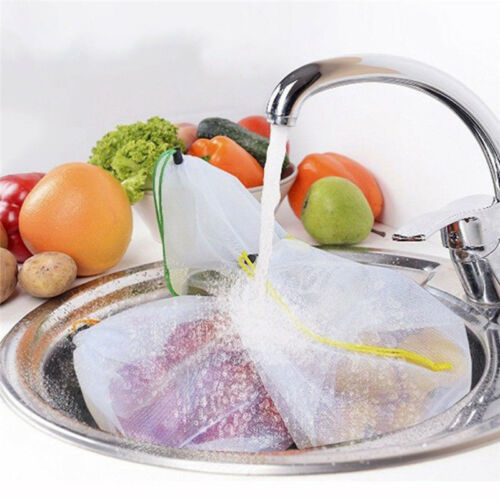 Reusable Produce Bags Vegetable Fruit Breathable Mesh Storage Pouch Shopping Bag 4