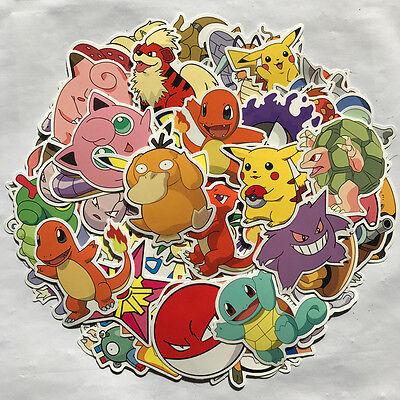 80pc POKEMON GO Pikachu Cartoon Stickers Skateboard Laptop Sticker Luggage Decal