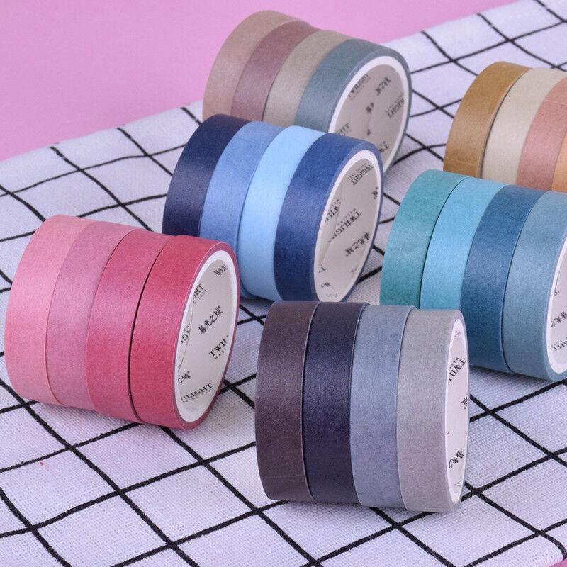 4pcs/set 6 Colors Scrapbooking Dairy Adhesive Tape Solid Color Washi DIY Tapes
