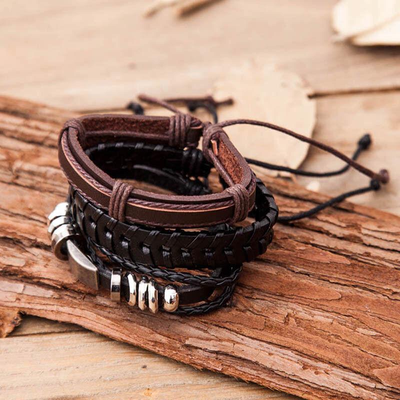 6 PCS Pulsera hombre vintage trenzada de cuerda de cuero multicapa Cuerda cera 4