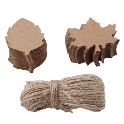 100pcs Kraft Paper Gift Tags Maple Leaf Label Luggage Christmas Blank + Strings 2