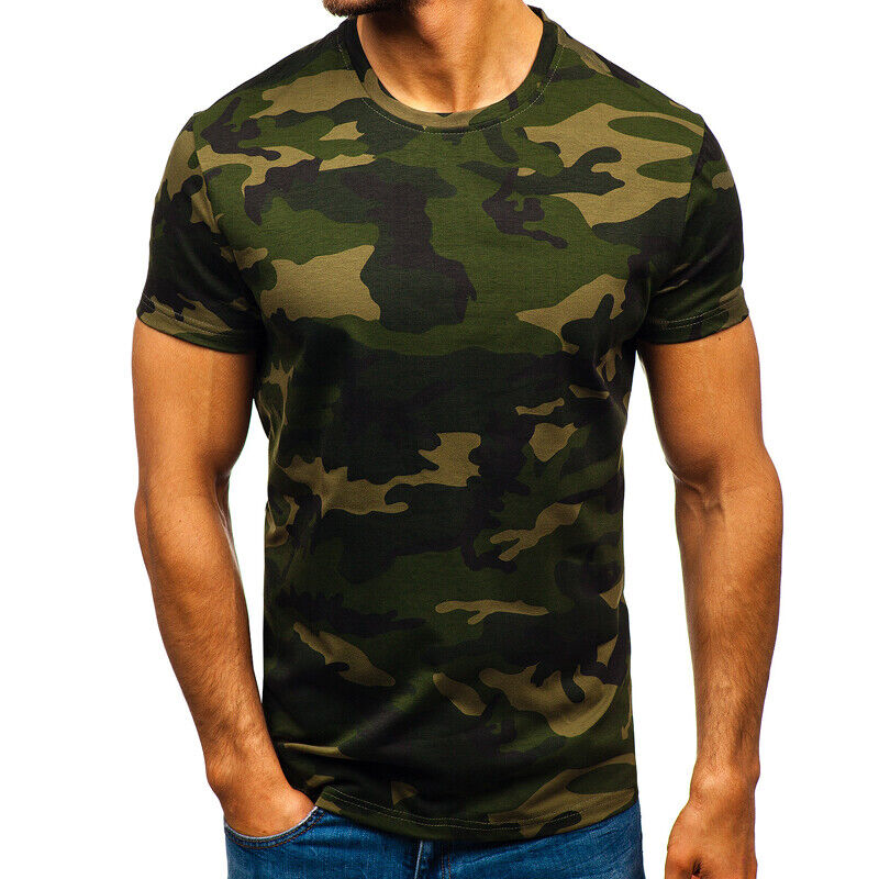 Mens City Camouflage Tactical Military Short Sleeve Army Camo T-Shirt Blouse Top 6