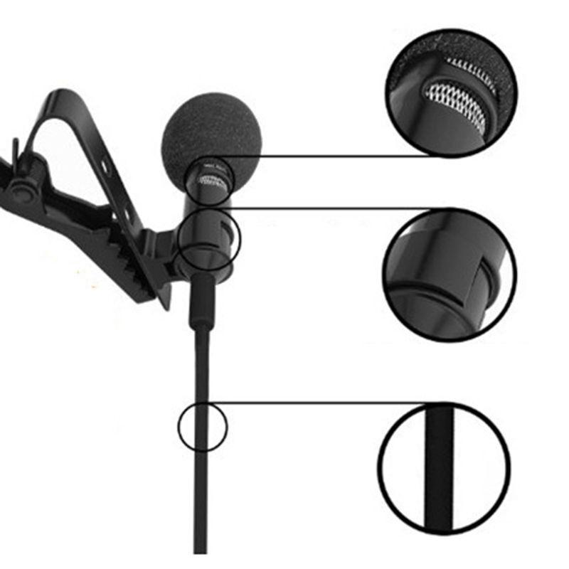 Tie Clip Mic Lapel Lavalier Condenser Microphone for iPhone iPad iPod Smartphone
