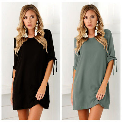 Sexy Womens Plus Size Long T-shirt Ladies Casual Party Mini Dress Blouse Tops 3
