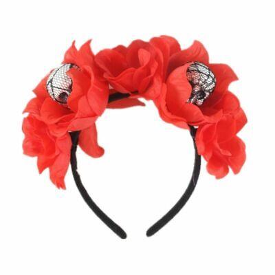 Halloween The Dead Flower Crown Headband Womens Horror Foam Skull Hair Hoop 9