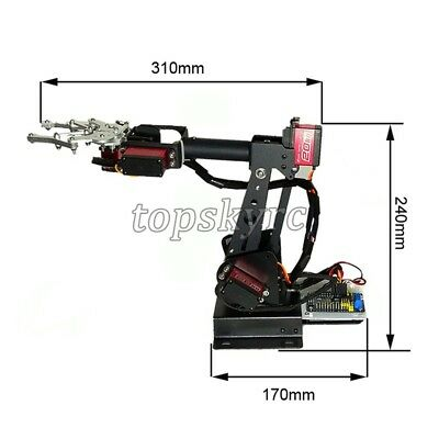 SZ Top Assembled 6DOF Robot Arm Clamp Set DIY Robotic Kit W/ Large Torque Servo 3