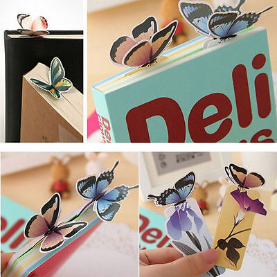 4pc Cute Butterfly On Flower Exquisite Paper Bookmarks Book Markers Readers Gift 5