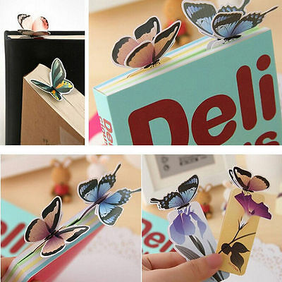 4pc Cute Butterfly On Flower Shape Exquisite Bookmarks Book Markers Readers Gift 5