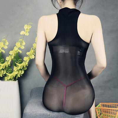 Women Glossy Oil Shiny Bodystocking See Through Sheer Bodysuit Tights Bodyhose 11