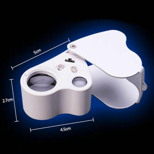 60X 30X Glass Magnifying Magnifier Jeweler Eye Jewelry Loupe Loop W LED Lights 6