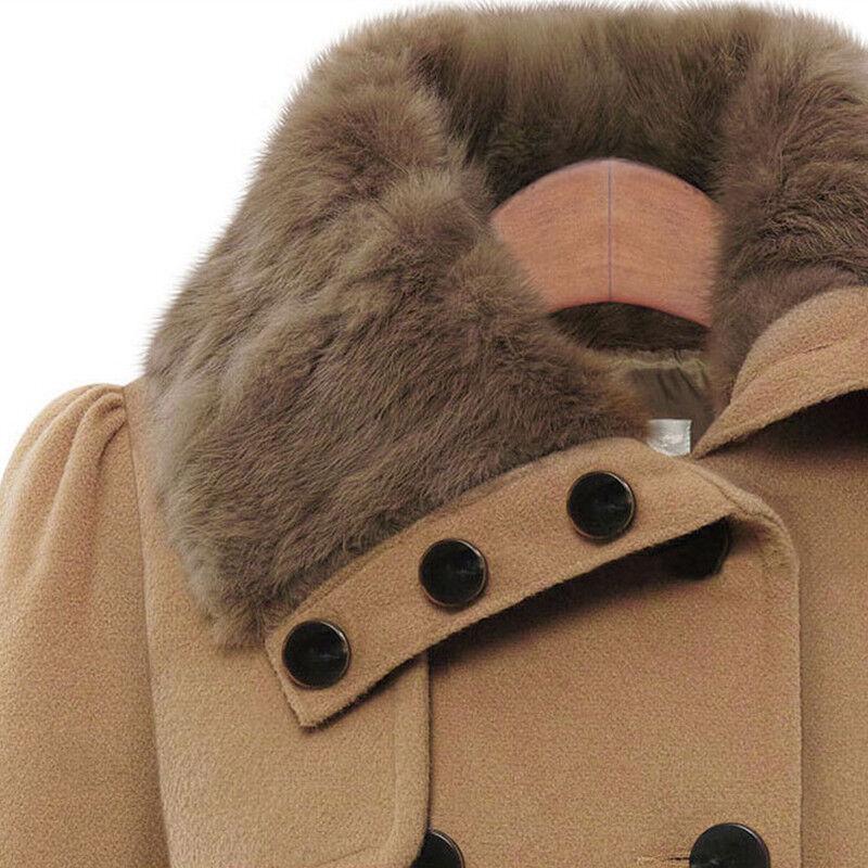 Womens Winter Office Pea Coat Trench Jacket Long Blazer Coats Outwear Plus Size 12