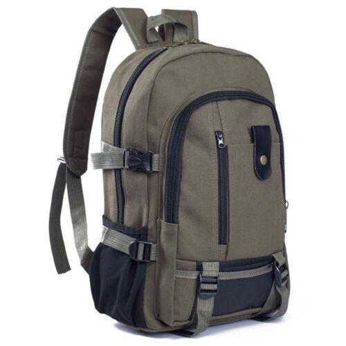 Men Vintage Canvas Backpack Rucksack Travel Hiking Schoolbag Laptop Camping Bag 3