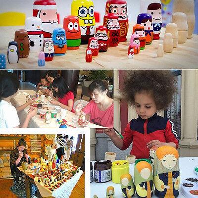 5pcs DIY Unpainted Blank Wooden Embryo Russian Nesting Dolls Matryoshka Toy Gift 4